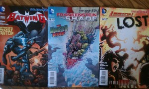 Covers for Legion Lost 16, Frankenstein Agent of SHADE 16, and Batwing 16
