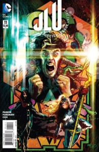 For some reason the cover for Justice League United 11 is different on the DC Comics website. Weird.